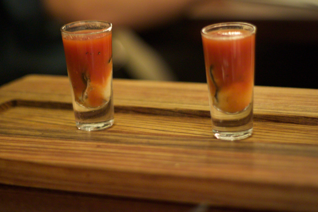 Turn your bloody mary into an oyster shooter!