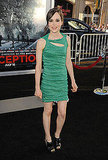 Ellen Page dabbled in emerald green in this chive Yigal Azrouel taffeta cocktail dress and peep-toe booties.