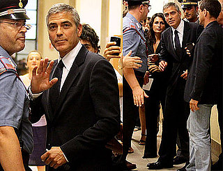 Pictures of George Clooney Arriving at a Court Hearing in Italy