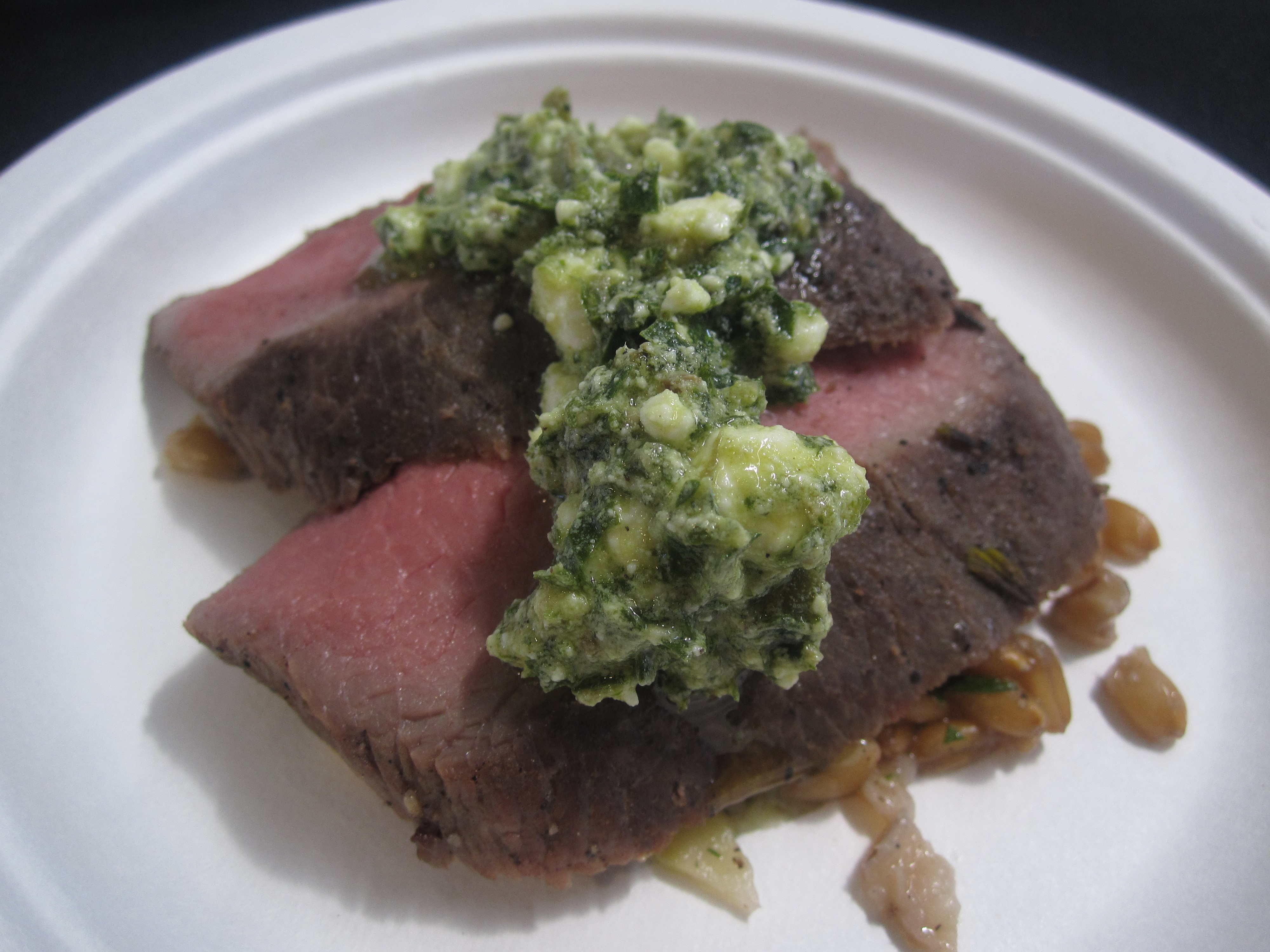 On to the lamb loin: this lamb with spinach and feta salsa verde was good but lacked something to make it really stand out.