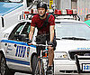 Slide Picture of Joseph Gordon-Levitt Riding Bike in New York