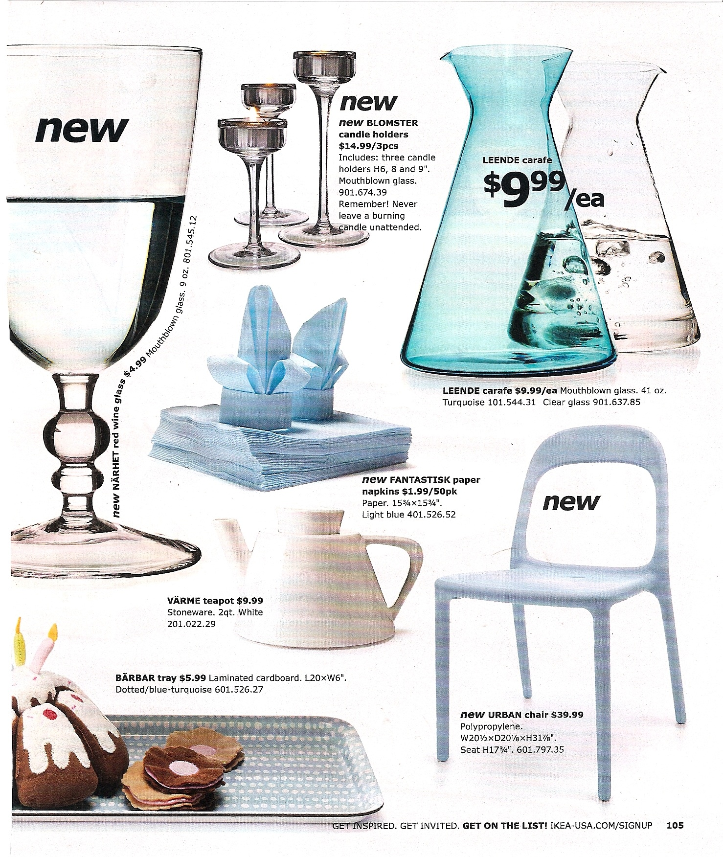 Mouthblown glass accessories and an adorable blue dotted laminated cardboard are fun new accents for the home.