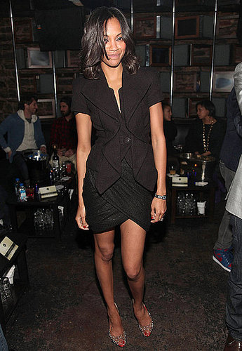 Zoe donned textural black at a Fashion Week party in NYC.