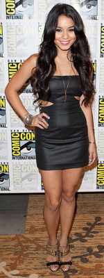 Vanessa Hudgens Wears Black Halo Dress and Leopard Heels to Comic-Con