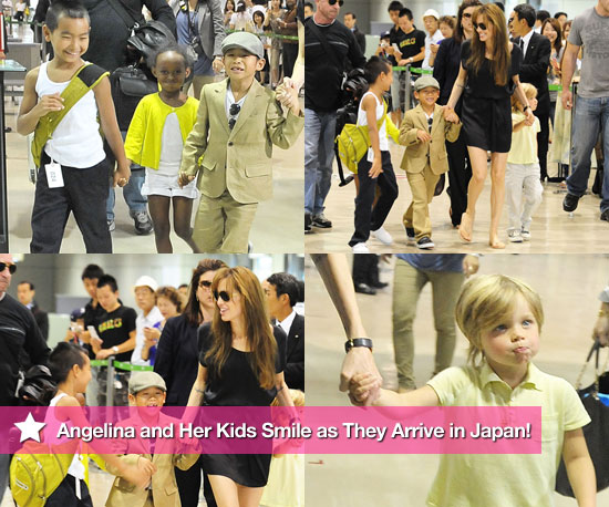 Photos: Angelina and Her Kids Smile as They Arrive in Japan!
