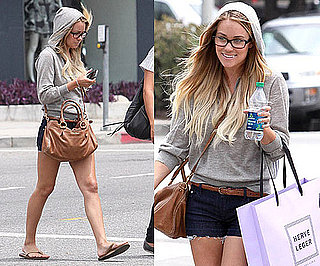 Lauren Conrad Shopping at Herve Leger in LA Wearing Vince Hooded Sweater and Tan Accessories