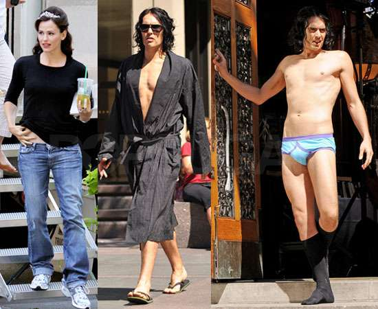 Pictures of Russell Brand Nearly Nude Naked in Church With Jennifer Garner Filming Arthur