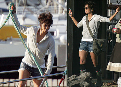 Pictures of Halle Berry Filming Dark Tide in South Africa