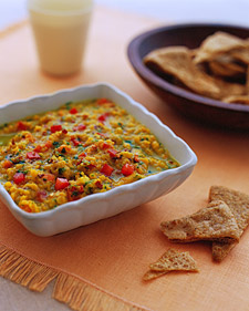 Warm Red-Lentil Dal With Pita Chips