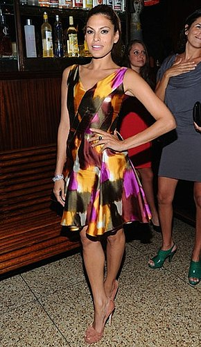 Pictures of Eva Mendes in Watercolor Dress and Brian Atwood Pumps