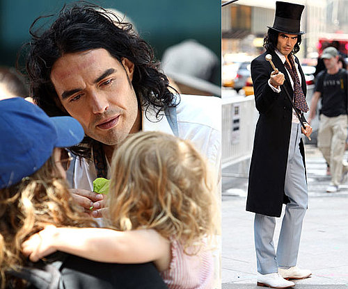 Russell Brand and Helen Mirren On Arthur Set, Russell Brand Unhurt After Car Crash