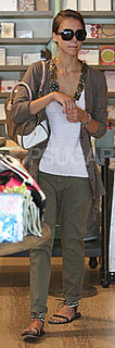 Jessica Alba Wears Olive Pants in LA