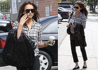 Pictures of Jessica Alba Wearing Plaid in LA