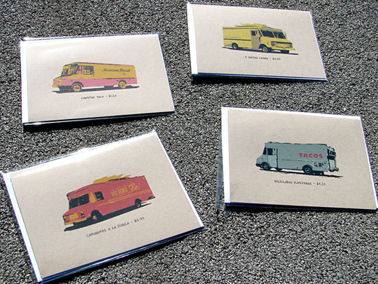 Send a tasty note to a fellow taco truck fan with this set of four notecards ($10).