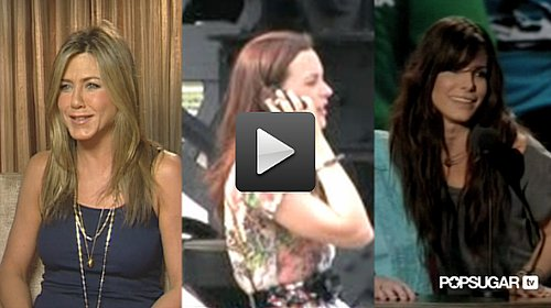 Video of Jennifer Aniston Eating Chips, Leighton Meester Filming Gossip Girl and Sandra Bullock and Robert Pattinson