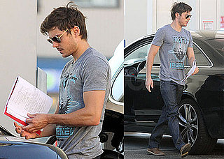 Pictures of Zac Efron Pumping Gas and Reading Script in LA