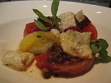 This upscale take on a BLT involved heirloom tomatoes, purselane, chicharrones, and a pancetta vinaigrette.