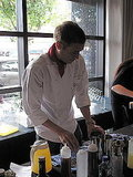 Mattin Nobila from Top Chef: Las Vegas busy making his twist on the Whiskey Sour.