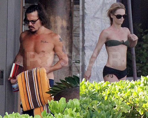 Pictures of Shirtless Johnny Depp With Vanessa Paradis in a Bikini