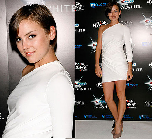 Photos of Jessica Stroup in Rachel Roy White One Sleeve Dress at Breakthrough of The Year Awards in LA