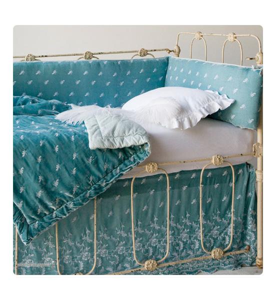Aqua Silk Velvet Embroidered Bedding
