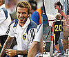 Pictures of David Beckham With LA Galaxy In New Jersey and Victoria Beckham in LA Watching Brooklyn, Romeo, Cruz Play Basketball