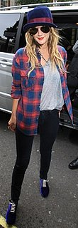 Drew Barrymore Wears Plaid Shirt and Fedora in London