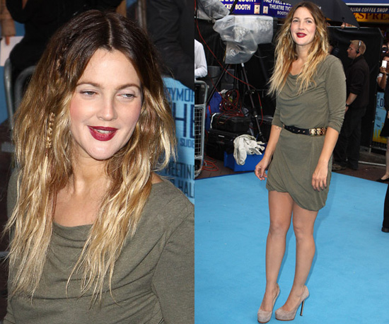 Photos of Drew Barrymore in Green Dress with Gold Belt in London