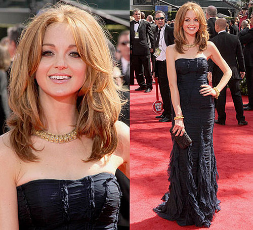 Jayma Mays Wears Burberry and Jimmy Choo to 2010 Primetime Emmy Awards