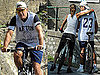 Pictures of George Clooney and Elisabetta Canalis Riding Bikes in Italy
