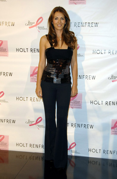 Elizabeth Hurley visited the Canadian department store in support of the Breast Cancer Research Foundation in 2007.