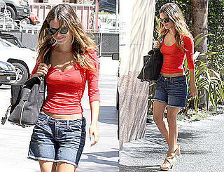 Pictures of Rachel Bilson Showing Her Toned Tummy in Denim Shorts