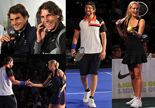 Roger Federer, Bar Refaeli, Bradley Cooper and Rafael Nadal at Knockout Tennis Tournament