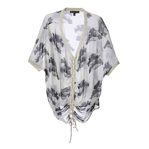 Elizabeth and James Tops White and Black Silk Printed V-Neck Top - StyleCaster