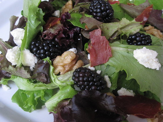Mixed Greens With Blackberries and Feta
