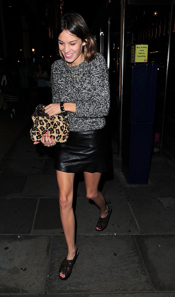 Alexa Chung's London nightclub ensemble is sexy in her own way. She's definitely on to the leopard bag trend.