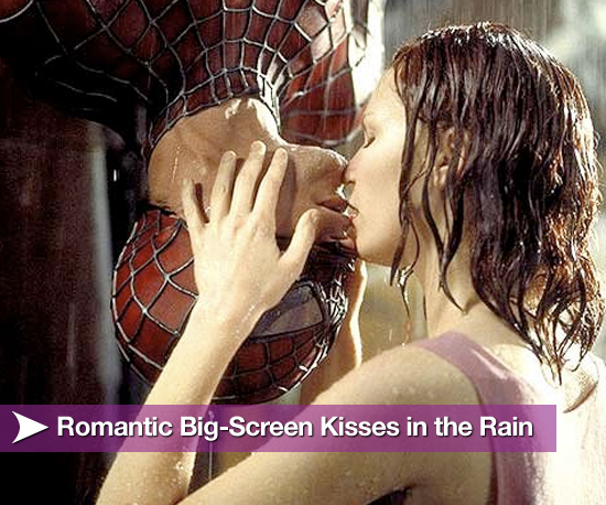 Romantic Big-Screen Kisses in the Rain