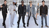 Penn Badgley, Usher, Justin Timberlake, Ne-Yo, and Jared Leto at 2010 MTV VMAs 2010-09-12 19:46:30