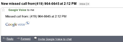 Google Voice Sends Missed-Call Notifications to Gmail