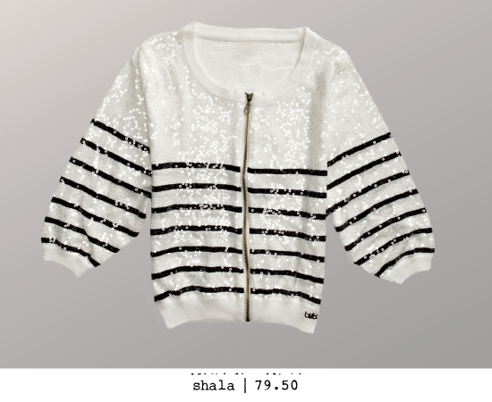 Lightweight striped sequin cardigan sweater with three-quarter-length dolman sleeves.