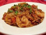 Shrimp jambalaya makes a flavorful, spicy, and hearty dinner.