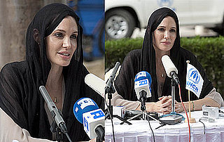 Pictures of Angelina Jolie at a Press Conference in Pakistan Discussing Flooding