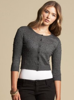 Bebe Beaded Crop Cardigan ($79)
