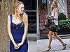 Pictures of Blake Lively in Blue on the Set of Gossip Girl
