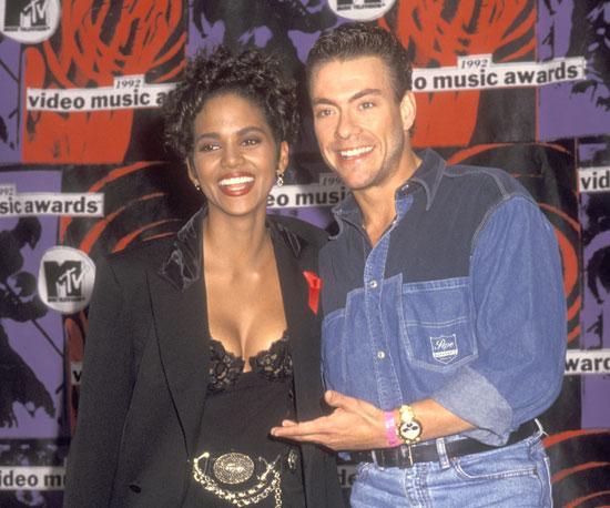 Halle Berry smiled big and Jean-Claude Van Damme rocked denim on denim backstage in 1992.