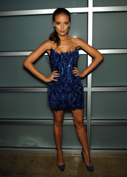 Selita Ebanks was a vision in sparkly blue at the Billy Reid presentation at New York Fashion Week.