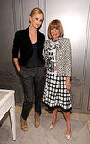 Outfitted in her official FNO tee, Anna Wintour is all smiles with Charlize Theron at Dior in NYC.
