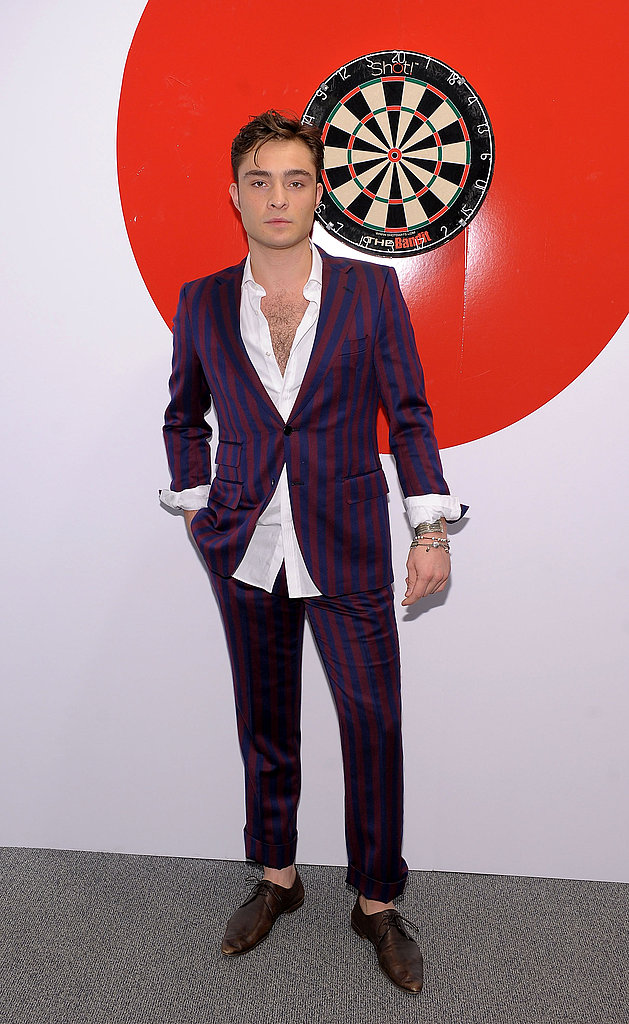 Swanky-suited Ed Westwick attends FNO at Saks Fifth Avenue.