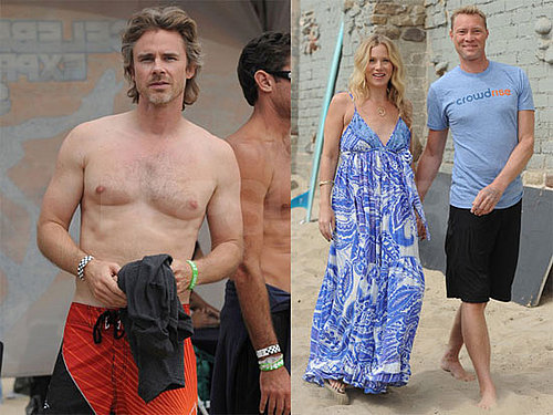 Pictures of Pregnant Christina Applegate, Shirtless Sam Trammell at Celebrity Surfing Event