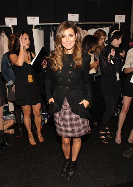 Plaid gone chic — Jamie Lynn Sigler backstage at Nanette Lepore.